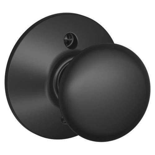 Plymouth Knob Non-Turning Lock, Matte Black (F170 PLY 622)