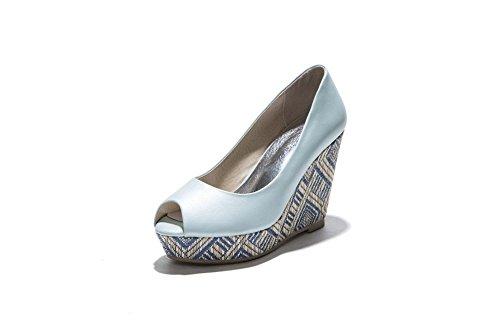 AllhqFashion Mujeres Peep Sin cordones Sólido Cuero Plataforma Sandalia Azul
