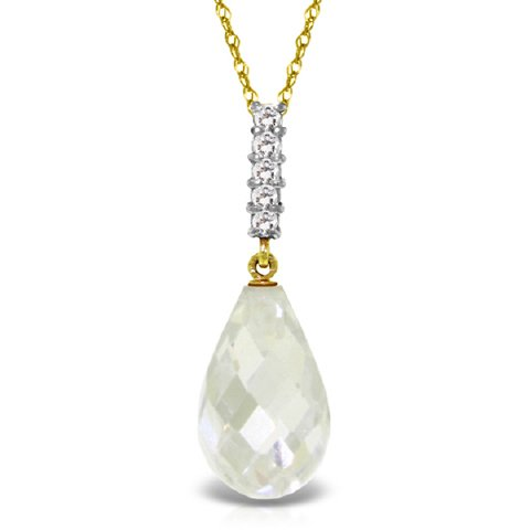 "14K 14"" Yellow Gold Necklace with Diamond and Briolette Drop White Topaz"