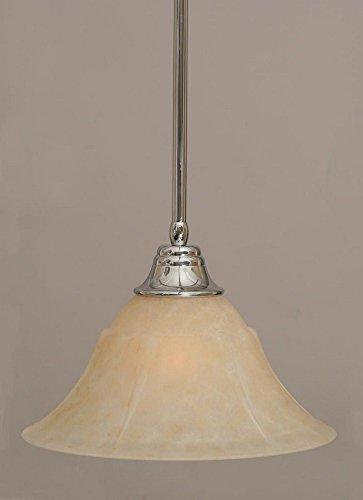 53313 Stem Pendant - Toltec Lighting 26-CH-53313 One Light Stem Pendant, Chrome Finish with Amber Marble Glass
