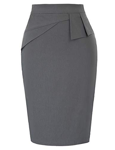 PrettyWorld Vintage Dress Women's Stretchy Office Pencil Skirt Bodycon Midi Skirt M Grey ()