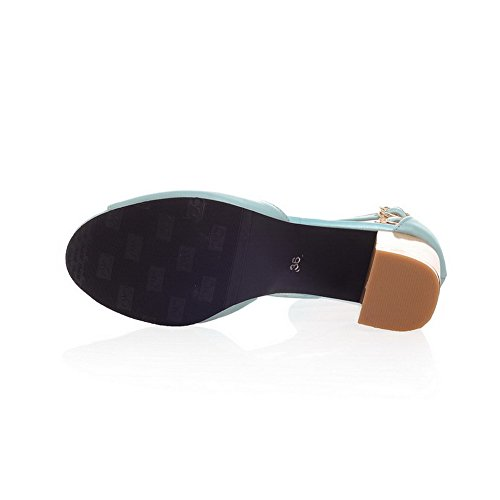 Allhqfashion Donna Solido Tacco Alto In Gattini Sandali Con Fibbia Open-toe Con Charms Blu