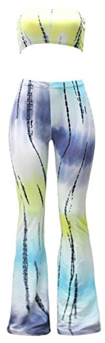 (Happy Cool Women's Tie Dye Print Bandeau Top Flared Bell Bottom Pants Outfits Yellow/Cyan XL )