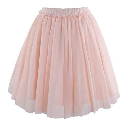(Flofallzique Tulle Tutu Girls Skirt Mid Calf 1-12 Year Old Toddler Skirt Dancing Skirt Girls Clothes (6T, Light Pink))