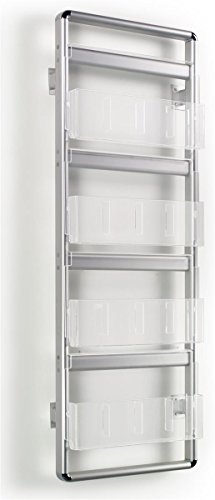 """Wall Rack 19-1/2""""w x 55""""h x 5""""d Brushed Silver Aluminum Frame with Clear Acrylic Pockets Literature Holder – Mounting Magazine Display Offers Four Rungs by Displays2go"""