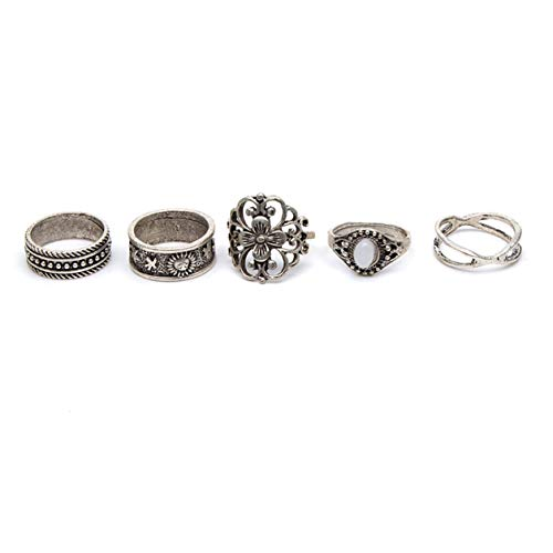 Geerier Vintage Silver Knuckle Rings Set Opal Flowers Gothic Joint Knuckle Nail Midi Stacking Ring Set Boho Ring Set 5Pcs/Set