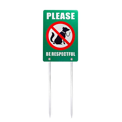 Double Signs Sided Yard - Kichwit No Dog Poop Yard Sign, Please Be Respectful Sign Double Sided, All Metal Construction, 7.9