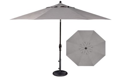 Pebble Lane Living 9' Tilt and Crank Patio Umbrella - Grey - 9' Patio Umbrella Tilt & Crank Patio has 8 ribs for extra strength against wind - shades-parasols, patio-furniture, patio - 31a8S59pZcL -