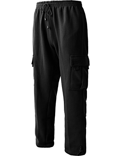 Men's Cargo Sweatpants Heavyweight Fleece Long Pants 60/40 S-5xl (Large, 1RD0005 Black)