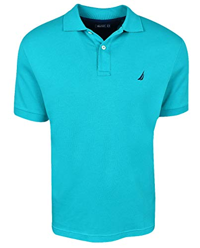 Nautica Men's Short Sleeve Solid Interlock Polo Gulf Coast Teal Large