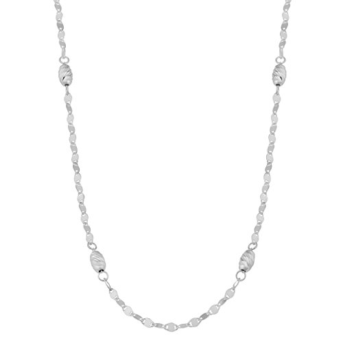ond-Cut Oval Bead Station Necklace (4mm, 20 inch) ()