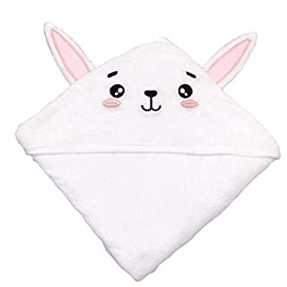 SWEET DOLPHIN Baby Hooded Bath Towel (Rabbit, 37.5×37.5 INCH)