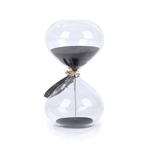 SWISSELITE BILOBA Puff Sand Timer/Hourglass (6.3 Inch,60 Minutes(+/- 360 seconds), Black)