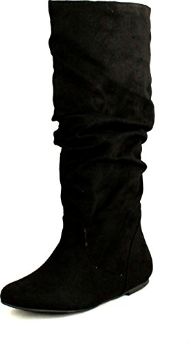 Soda Women's Zuluu Slouchy Faux Leather Knee HIgh Flats Boots