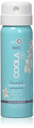COOLA Organic Sunscreen Body Spray | SPF 30 | Certified Organic Ingredients | Farm to Face | Ultra Sheer | Pocket Size | Continuous Spray | Water Resistant | Unscented