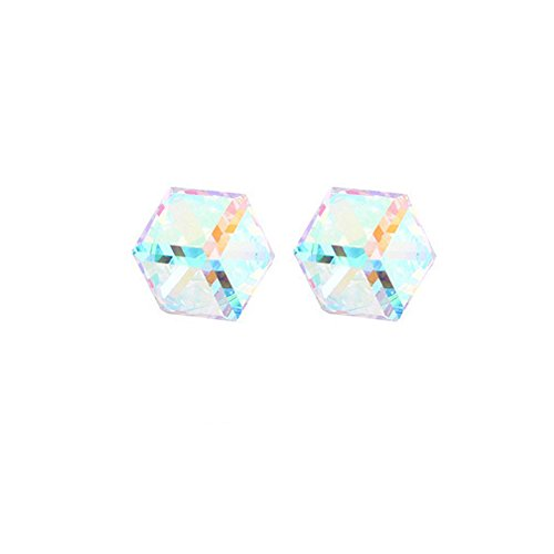 (925 Sterling Silver CZ Baroque Cube Austrian Crystal Drop Hook Stud Earrings Water Cube for Women)