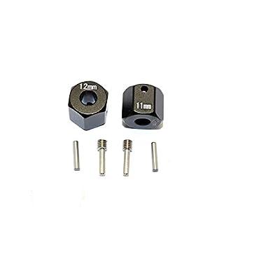 GPM Axial SCX10 II Upgrade Parts (AX90046) Aluminum Wheel Hex Adapters 12mm X 11mm - 2Pcs Set Black: Toys & Games