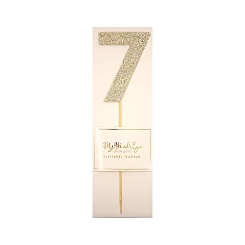 My Mind's Eye Basic Gold Glitter Number Cake Topper Party Pick, Quantity 1 (Number (Basic Glitter Paper)