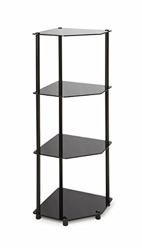 - Convenience Concepts Designs2Go Midnight Classic 4-Tier Glass Corner Shelf, Black Glass