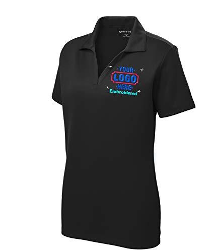 Womens/Ladies Custom Polo Shirt. Custom Embroidered Polo Shirt for Ladies. (Small, Black)