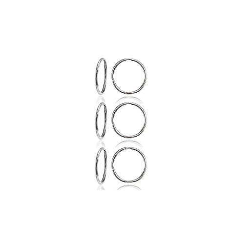 14K White Gold Tiny Small Endless 10mm Thin Round Lightweight Unisex Hoop Earrings, Set of 3 Pairs