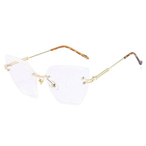 MINCL/2018 Hot Sale Rimless Diamond Trimming Cateye Sunglasses Womens Luxury Oversized Eyewear UV400 - Sale Sunglasses Luxury