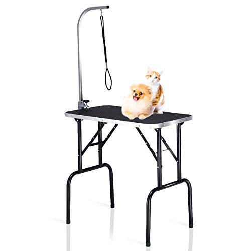 Portable Pet grooming table, Dog Grooming Tables for large dogs,with Adjustable Arm & Noose, Heavy Duty Steel Frame with Ribbed Rubber Surfaced