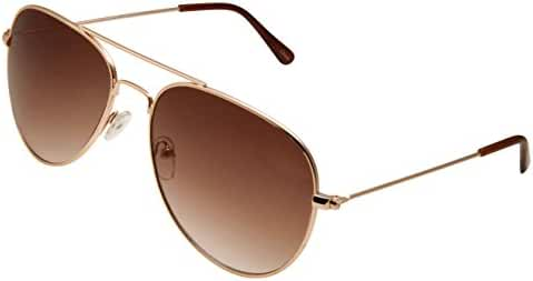 grinderPUNCH Classic Aviator Sunglasses Normal Fit in Gold Frame with Brown Lens