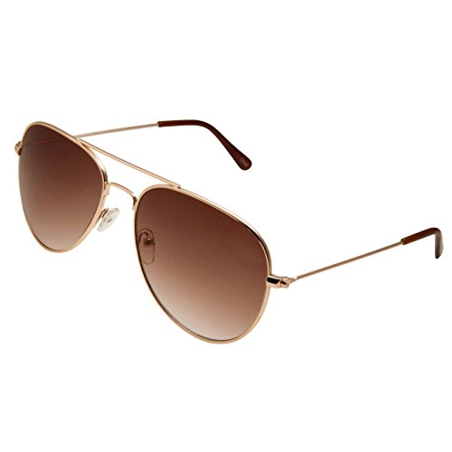 grinderPUNCH Classic Aviator Sunglasses Normal Fit in Gold Frame with Brown - For Aviator Womens