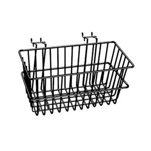 Lot of 6 - New Black - 12''W x 6''D x 6''H - Multi Basket - Fits Slatwall, Gridwal, Pegboard, and Slatgrid