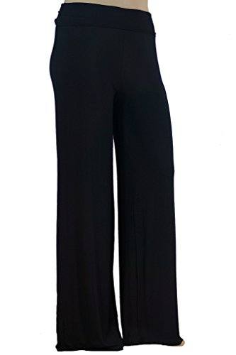 Stylzoo Women's Premium Modal Softest Ever Palazzo Solid Stretch Pants Black Supermodel ()