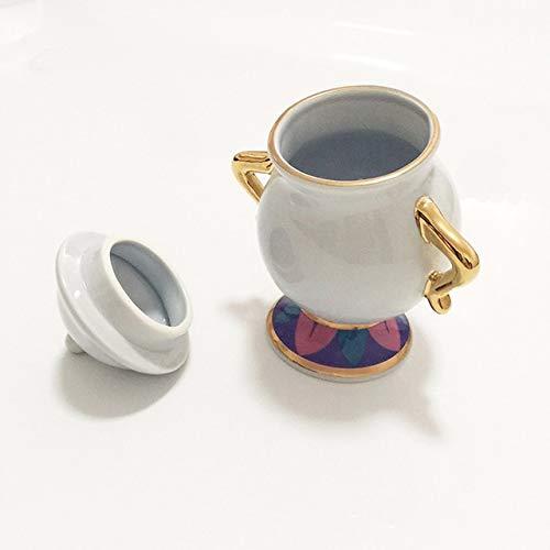 NERB Belleza de Dibujos Animados y el Don de la Bestia Taza Tetera senora Potts viruta pote del te de la Taza Un Sistema Precioso de la Navidad rapido del Anuncio (Color 1 Sugar Pot)