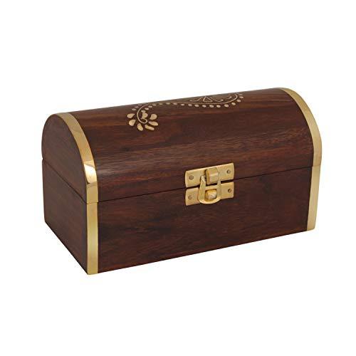 storeindya Handmade Wooden Jewelry Box Keepsake Box Storage Organizer Multipurpose Box - Beautiful Brass Inlay Work Treasure Chest Trinket Holder for Women Men Girls (Pirate Collection) ()