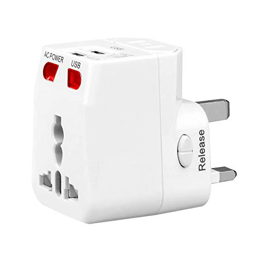 (Universal Travel Adapter, WONPLUG World Power Adapter Plug with 2.1A Dual USB, International Adapter Converters for Europe, Italy, Ireland, UK, AU, Asia, Over 150 Countries, Built-in Safety Fuse)
