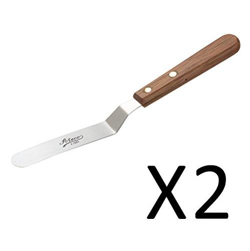 Spreader Wood Handled (Ateco 1385 Spatula Icing Frosting Spreader Decorating Tool - Wood Handle, 2-Pack)