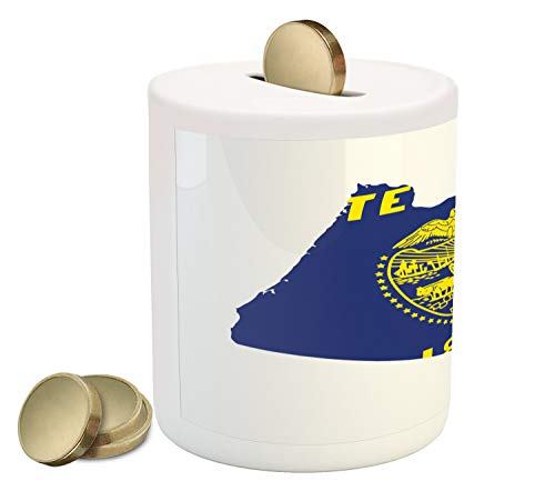 Lunarable Oregon Piggy Bank, Map and Waving Flag of US State Beaver State Heart Shape Shield The Union, Printed Ceramic Coin Bank Money Box for Cash Saving, Cobalt Mustard White