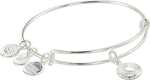 Alex and Ani Women's Swarovski Color Code Bangle Bracelet April/Crystal Color/Shiny Silver One Size