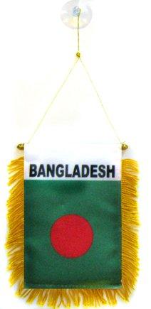 AZ FLAG Bangladesh Mini Banner 6'' x 4'' - Bangladeshi Pennant 15 x 10 cm - Mini Banners 4x6 inch Suction Cup Hanger ()