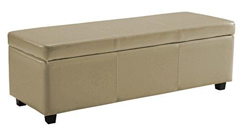Simpli Home Avalon Rectangular Faux Leather Storage Ottoman Bench, Large, Cream