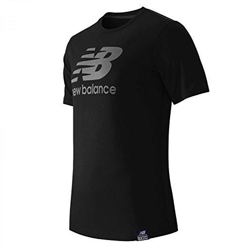 New Balance Men's Essentials Plus Short Sleeve Logo Tee, Black, Medium