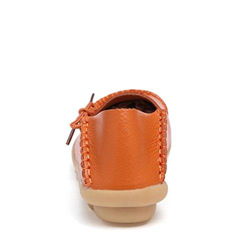 Lovelive99 Scarpe Da Donna Allacciate In Pelle Di Vacchetta Mocassini Scarpe Da Barca Arancione