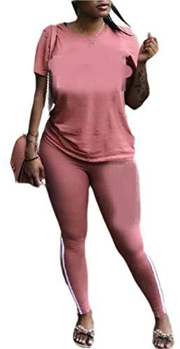 HANA+DORA Women's 2 Piece Outfits Short Sleeve Tops and Long Pants Tracksuit Set 4 ()