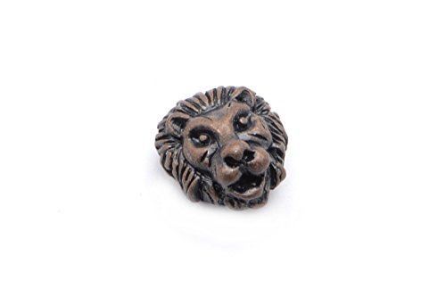 15pcs Lion Head Beads in Dark Antique Copper, Animal, Zoo, Tiger Beads, Side Drilled Metal Beads #SD-S7736
