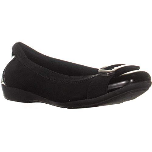 Anne Klein Womens Uplift Closed Toe Slide Flats, Black Combo, Size 5.0