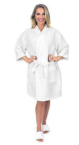 Indulge Premium Linen Women's Thigh Length Waffle Kimono Robe (Small/Medium, White) ()