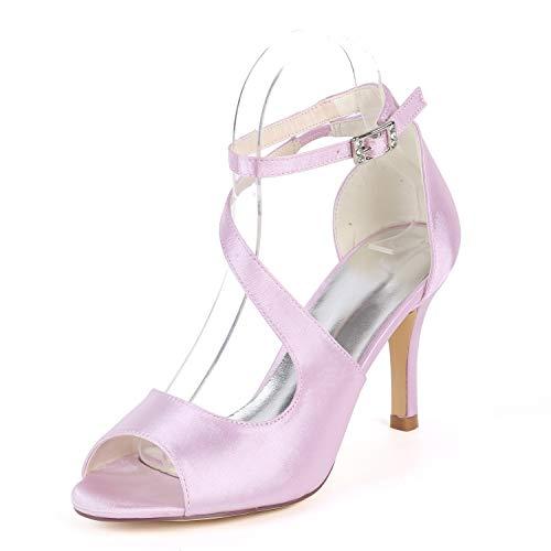 Hebilla Mujer Zapatos 5cm Tacones 8 Stiletto Boda Peep yc L Toe Altos Satén Sandalias Pink Nupciales wqpCnP85