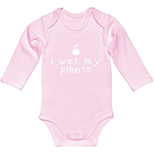 Baby Romper I Wet My Plants Light Pink for 6 Months Long-Sleeve Infant -