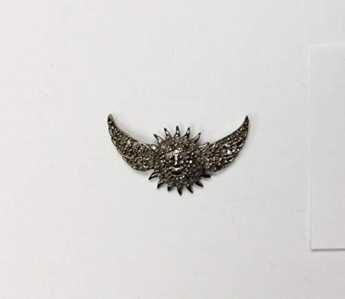 Sun With Wings Pave Diamond Charm .925 Oxidized Sterling Silver Diamond Charms, Genuine Handmade Pave Diamond Charm Size 14x24 MM