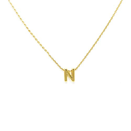(Me Plus Petite Initial Letter Alphabet Pendant Charm Gold Dipped Necklace Gold Silver Rosegold (23 Letters) (N - Gold))