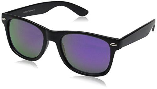 zeroUV ZV-8025-08 Retro Matte Black Horned Rim Flash Colored Lens Sunglasses, Black/purple, - Wayfarers Purple